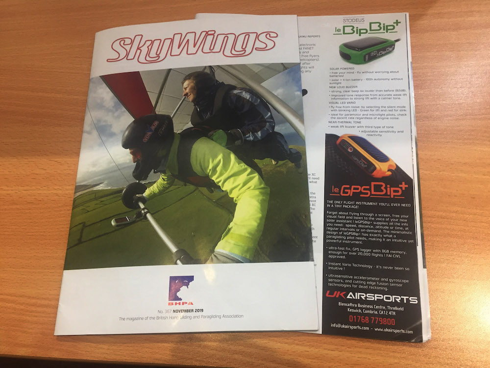 solar powered vario GPS in skywings magazine